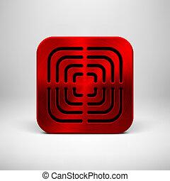 app, metallo, struttura, sagoma, astratto, rosso, icona