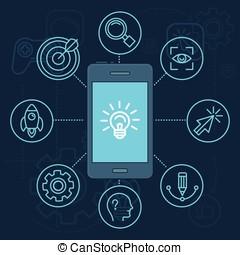 app, mobile, innovation, téléphone, vecteur, écran