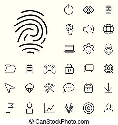 app outline, thin, flat, digital icon set.