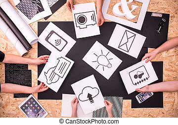 app, papel, iconos