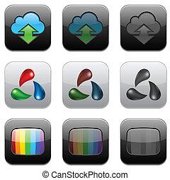app, quadrado, modernos, icons.
