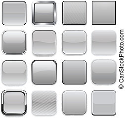 app, quadrat, grau, icons.