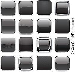 app, quadrato, nero, icons.