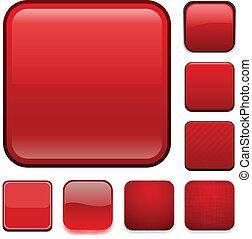 app, quadrato, rosso, icons.