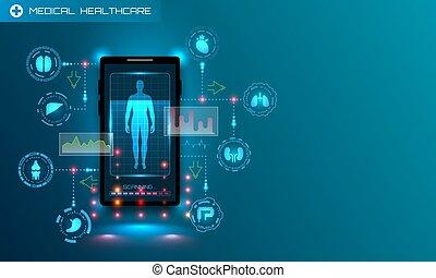 app., recherche, ui, technologie, monde médical, futuriste, hud, médecine