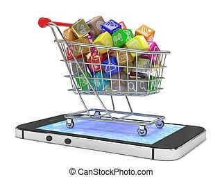 app, rendering., telefon., herbst, ikone, klug, 3d