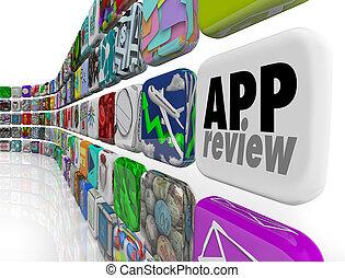app, revisão, programa software, avaliação, processo,...
