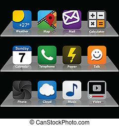 app, satz, icons.
