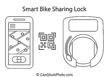 app, scooters., delen, diensten, huur, wiel, opent, outline., fiets, code, bluetooth, draadloos, slot, vector, illustratie, bicycles, gebruik, beweeglijk, smart, key., qr, of