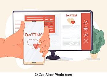 app, serviço, móvel, online, achar, namorando, amor