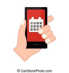 app, smartphone, カレンダー, 手を持つ