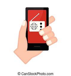 app, smartphone, ラジオ, 手を持つ