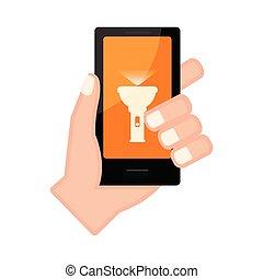 app, smartphone, ランプ, 手を持つ