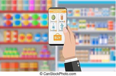 app, smartphone, 買い物, 手を持つ