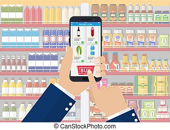 app., smartphone, 買い物, 手を持つ
