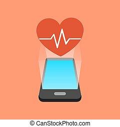 app, smartphone, concept., isométrique, fitness, design.