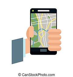 app, smartphone, conception, gps