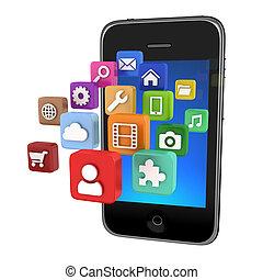 app, smartphone, -, odizolowany, ikony