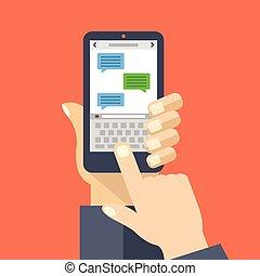 app, smartphone, texting, schermo