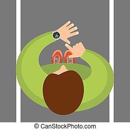 app, smartwatch, 追跡者, 手首, フィットネス, smartphone.