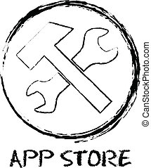 App Store chalk illustration on white background.