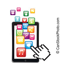 app store with cursor hand illustration isolated. vector