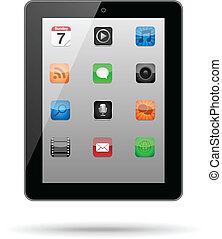 app, tablette, icônes
