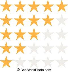 app, ton, toile, icône, illustration, eps10., symbole, plat, logo, étoile, vecteur, classement, ui., style., site, blanc, conception, 5, signe, arrière-plan.