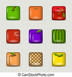 app, vecteur, ensemble, icons-fruits