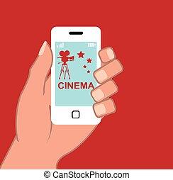 app, vecteur, smartphone, cinéma