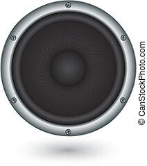 app, vetorial, orador, ícone, áudio, illu