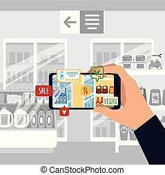 app, virtuale, vettore, appartamento, realtà, augmented, esperienza, illustration., o, cliente