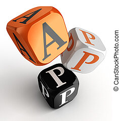 app word on orange, black and white dice toy blocks