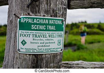 appalachian, nacional, panorâmico, rastro, sinal