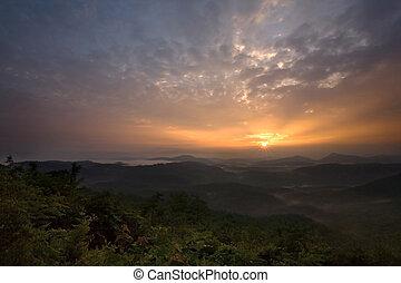 appalachian, sobre, amanhecer, montanhas