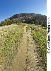 appalachian, sujeira, montanhas, caminho