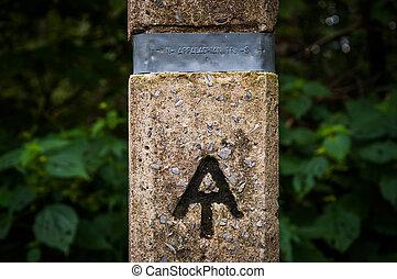 Appalachian Trail marker in Shenandoah National Park,...