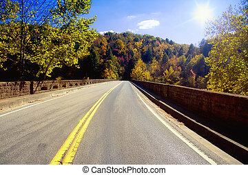 appalachians, através, estrada