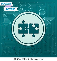 apparaît, différent, puzzle, board., il, flèches, icône, vecteur, vert, électronique, directions., fond