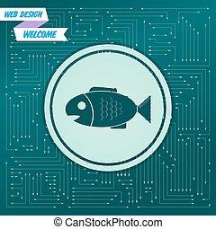 apparaît, fish, différent, board., il, flèches, icône, vecteur, vert, électronique, directions., fond