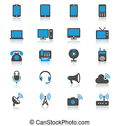 apparaat, plat, communicatie, reflectie, iconen
