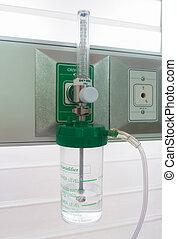apparaat, voor, het leveren, humidified, zuurstof