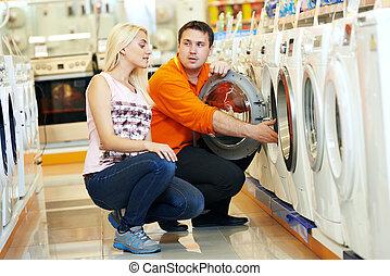 apparat, kvinna handling, supermarket, hem