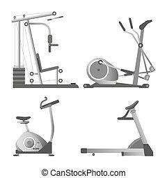 apparaten, opleiding, set, gym, vrijstaand, illustraties,...