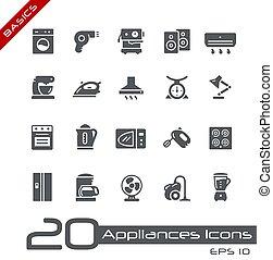 apparater, husholdning, //, iconerne, basics