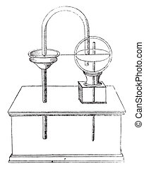 Apparatus for determining air ascent of water, vintage engraving.
