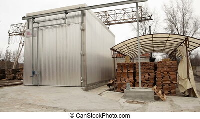 apparatus for drying wood - log production plant processing...