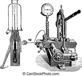 Apparatus for gas liquefaction, vintage engraving.
