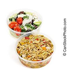 apparecchiato, insalate, in, contenitori takeout