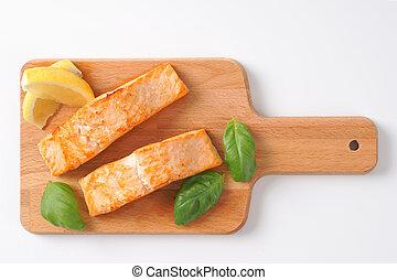 apparecchiato, salmone, filettare